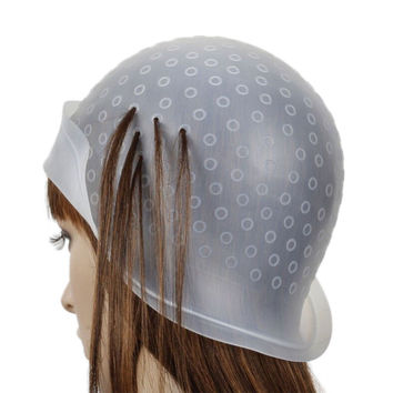 Reusable Hair Coloring Highlighting Dye Cap Frosting & Meal Hook Tipping