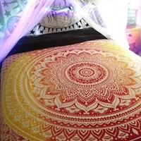 Mandala Queen Bed Cover (Red &a Yellow)