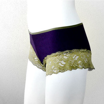 Organic cotton boyshort panties - eggplant green lace