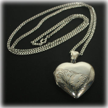 Heart Locket, Large Pendant, Sterling Heart, Locket Pendant, Sweetheart Jewelry, Sterling Necklace
