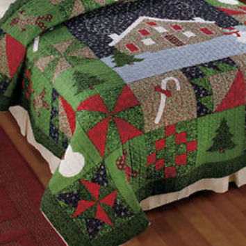 Holiday Gingerbread Full/Queen Quilt Christmas Trees Snowmen Theme Bedroom Decor