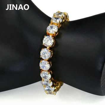 JINAO 1 Row Gold Silver AAA Cubic Zirconia Paved All Iced Out Tennis Bling Lab CZ Stones Bracelet