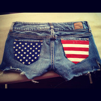 Made to order or Purchase these Patriotic American Flag Shorts