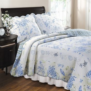 King 100% Cotton Oversized Quilt Set in Ocean Blue Coral Seashells