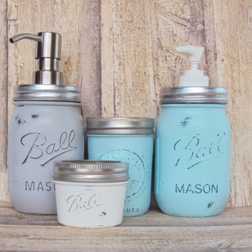 Distressed Mason Jar 4 Piece Set, Shabby Chic Mason Jar Vanity Decor, Mason Jar Soap Dispenser, Lotion Dispenser, Bathroom Storage Jars