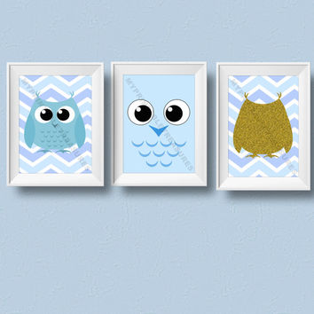 Matching Set of 3 Owl Theme Baby Shower Decoration, Owl Gift, Baby Room Decor, Nursery Wall Art, Digital Download Printable Art, Kawaii Art