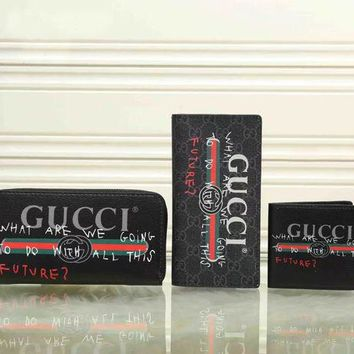 DCCKN7G GUCCI Woman Men Fashion Wallet Purse Clutch bag Set Three Piece