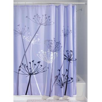 Purple Thistle Flower Polyester Fabric Shower Curtain