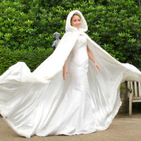 Winter Bridal Wedding Cloak Hoodie Cap for Brides with Faux Fur Trim