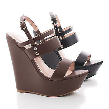 Sam19 Strappy Studded Slingback Platform Wedge Sandals