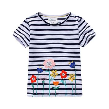 jumping meters Girls clothes t shirts applique animal rabbit cute children summer tops tees kids clothes short-sleeve t shirt