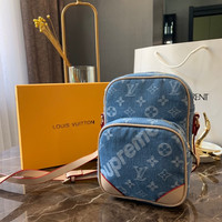 Louis Vuitton LV x Supreme Monogram Denim Crossbody Shoulder Bag