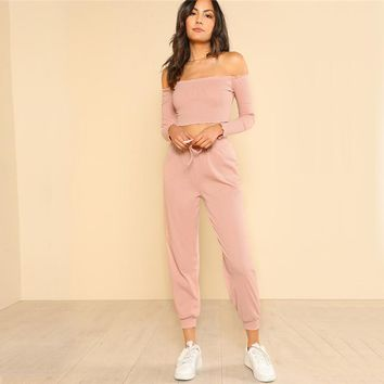2 Piece Off Shoulder Top and Pants
