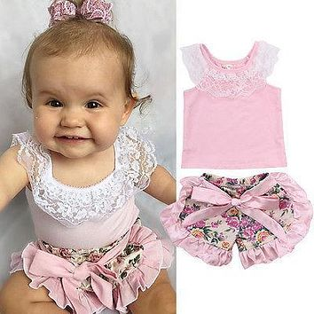 Toddler Baby Girl Clothes Lace Tops T-shirt+Floral Shorts Culottes Outfits Kids Clothing Set Costume 0-24M