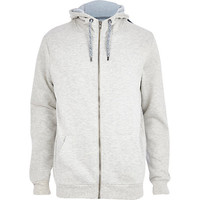 River Island MensGrey marl high neck zip through hoodie
