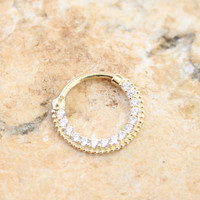 14k Yellow Gold, CZ Septum Ring, 14k Daith, Nose Jewelry, Nose Piercing