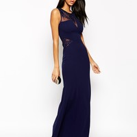 Lipsy Slinky Maxi Dress With Lace Neck