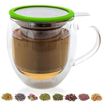 Teabloom Large Double Wall Tea Cup with Infuser and Lid / Coaster (Green) - 430ml/15oz