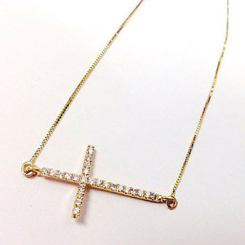 Sideways Gold Cross Necklace
