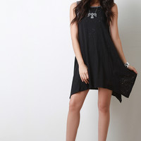Bullet Hole Color Block Shirt Dress
