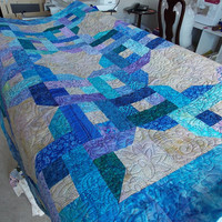 blue and purple batik quilt  - throw / lap size or wallhanging