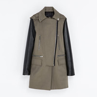 COAT WITH LEATHER SLEEVES - Coats - WOMAN | ZARA United States