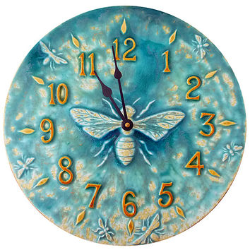Honeybee Ceramic Wall Clock in Aqua Stone Glaze by Beth Sherman: Ceramic Clock | Artful Home