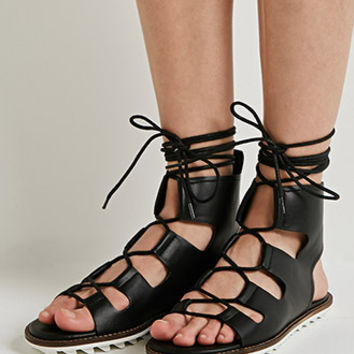 Faux Leather Lace-Up Gladiator Sandals
