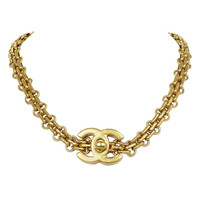 CHANEL Goldtone Bijoux Chain Choker With CC Twist Lock