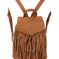 Brown PU Fringed Drawstring Backpack