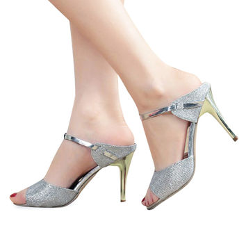 Elegant Summer Ladies Ankle Wrap Wedding Shoes 2016 Sexy Women High Heels Sandals Shallow Fish Mouth Women Sandals Golden Silve