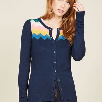 You Heard That Bright Cardigan in Navy | Mod Retro Vintage Sweaters | ModCloth.com