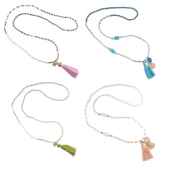 """Stretch Tassel Wrap Bracelet or Necklace 30"""" Long Handcrafted Glass Beads Set of 4"""