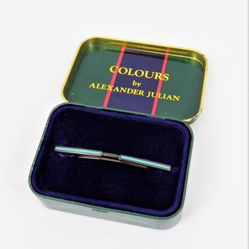 Alexander Julian Tie Bar, Turquoise Enamel, Dark Metal, Vintage Men's Accessories