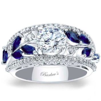 Barkev's Blue Sapphire Vintage Style Wide Floral Diamond Engagement Ring
