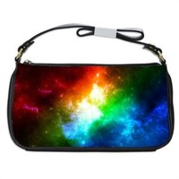 Neon Space Nebula Handbag Shoulder Bag Black Leather