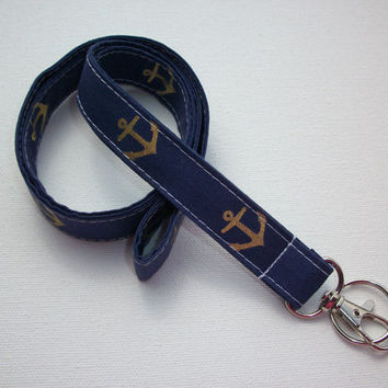 Lanyard  ID Badge Holder - Anchors - Lobster clasp and key ring - navy blue with gold anchors - coworker gift