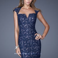 La Femme 20621 - Navy Lace Fitted Open Back Prom Dresses Online