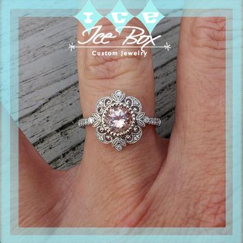Morganite Engagement Ring - 6.5mm, 1.3ct Round Morganite Set in a 14K White gold Diamond Halo Milgrain Setting