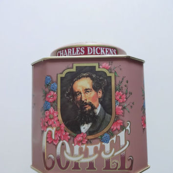 Vintage Charles Dickens Coffee Metal Tin 1980s