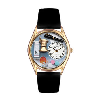 Whimsical Watches Healthcare Nurse Appreciation Gift Accessories Pharmacist Black Leather And Goldtone Watch