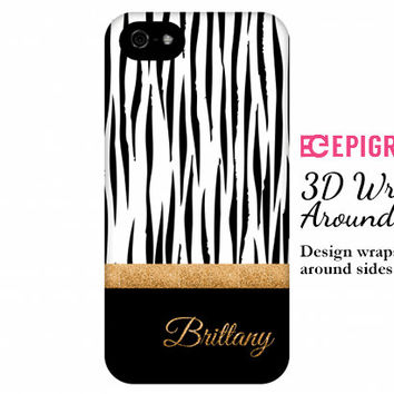 Personalized iPhone 6 case, tiger print iPhone 6 plus case, gold glitter, iphone 5c case, iPhone 5s case, iPhone 4s case, Galaxy S5 case