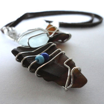 Sea Glass Necklace, Silver Wire Wrapped Pendant, Beach Glass Jewelry, Wire Wrapped Jewelry, Bottle Brown, Boho Jewelry, Tribal Necklace