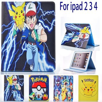 Case for Apple ipad 2 3 4 ipad 4 ipad 3 case  Go cute Pikachu tablet PU leather Cover Flip stand shell coque paraKawaii Pokemon go  AT_89_9