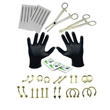 1Set Body Piercing Tools 6 Style Professional Piercing Tool Kit Sterile Belly Body Ring Needle Sets Cartilage Tools Body Jewelry