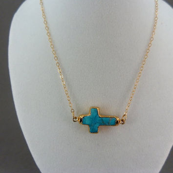 Mothers Day SALE Turquoise Sideways Cross Necklace Cross edged in 24k gold on gold fill chain