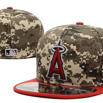 PEAPON Los Angeles Angels of Anaheim 59FIFTY MLB Baseball Cap Cool Base Camouflage