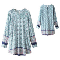 Light Blue Vintage Geometric Print Long Sleeve A-Line Midi Dress