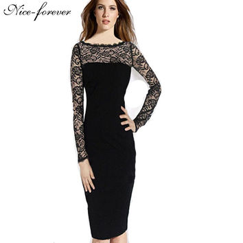 Sexy New spring European vintage women Floral Lace transparent long sleeve dress business Tunic Sheath Office Bodycon Dress 738