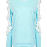 Blue Crochet Lace Detail Cold Shoulder Long Sleeve T-shirt